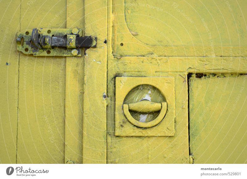 TopSecret Box Lock Locking bar Door handle Circus trailer Wood Metal Old Authentic Sharp-edged Simple Near Trashy Yellow Colour photo Subdued colour
