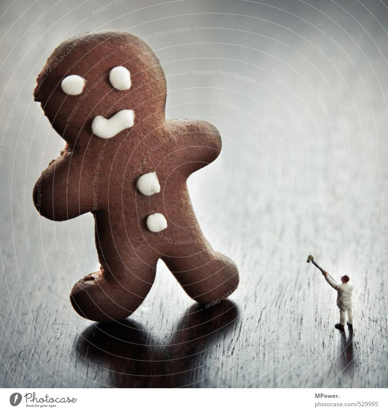 david vs. goliat Masculine Body 1 Human being Feeding Hunting Fight Painting (action, work) Fat Delicious Funny Brown White Gingerbread Baker Christmas & Advent