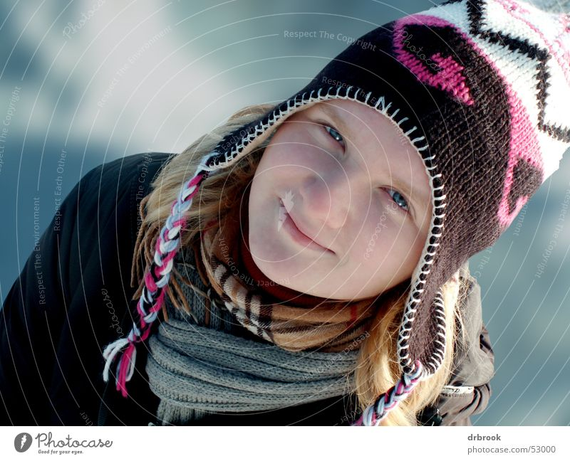 Woman Youth (Young adults) Beautiful Girl Winter Face Eyes Cold Snow Head Laughter Mouth Nose Cap Depth of field Scarf