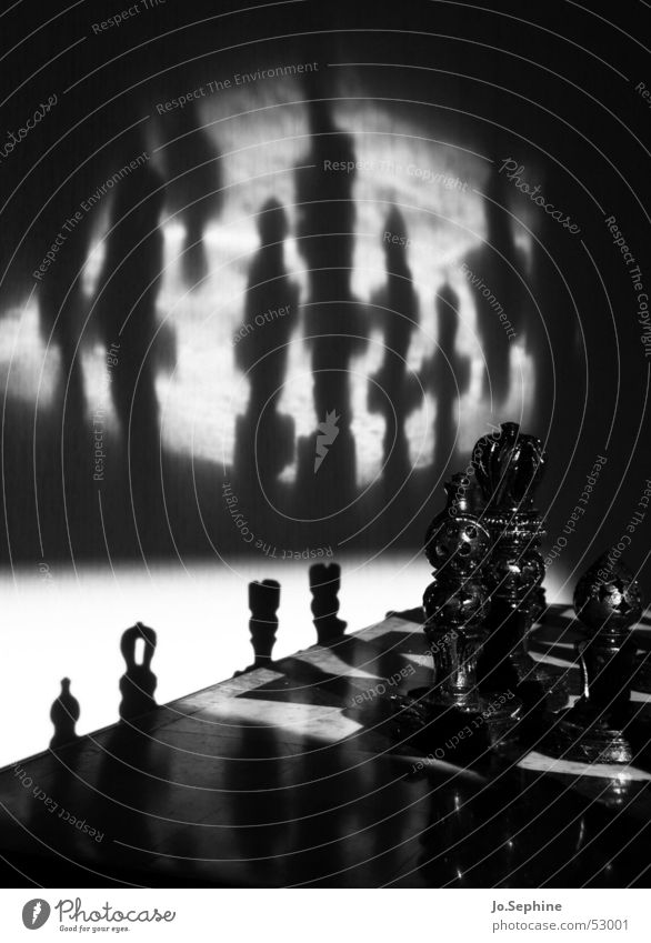 Sch(l)ach(t)-Feld Leisure and hobbies Playing Board game Chess Black White Risk Chess piece Figure Eerie War Theater of war Chessboard Puzzle Dark Day