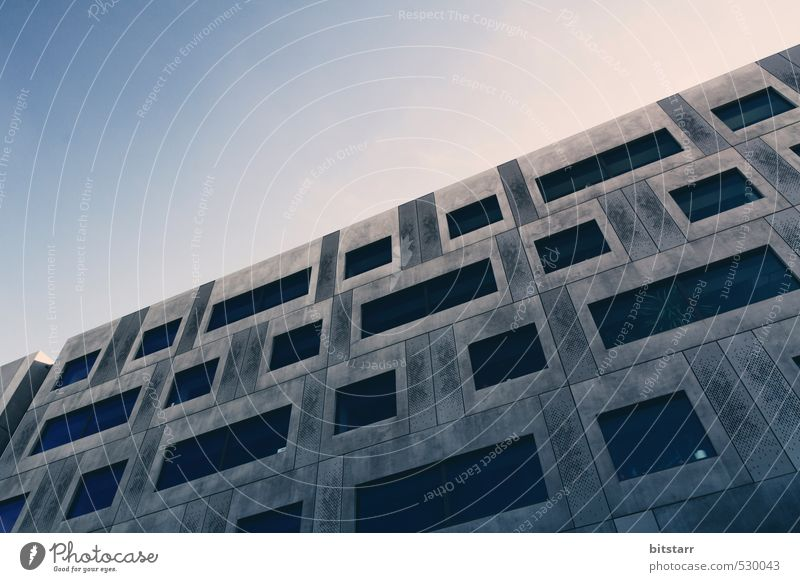 Sky Blue Loneliness House (Residential Structure) Face Cold Eyes Window Wall (building) Wall (barrier) Architecture Gray Metal Facade High-rise Modern