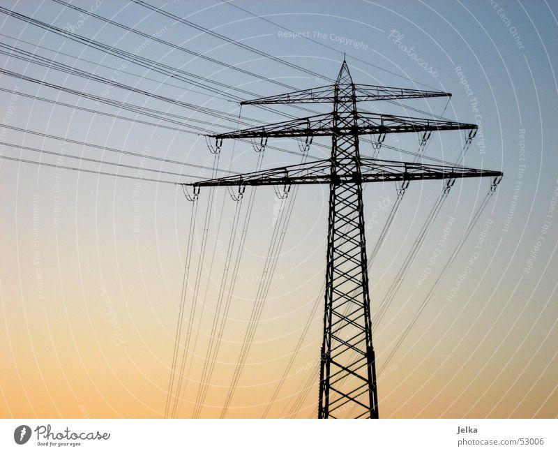 power pole Energy industry Sky Blue Electricity pylon Orange Colour photo Sunlight Twilight Deserted High voltage power line