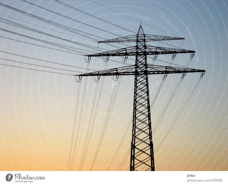 Sky Blue Orange Energy industry Electricity Electricity pylon High voltage power line