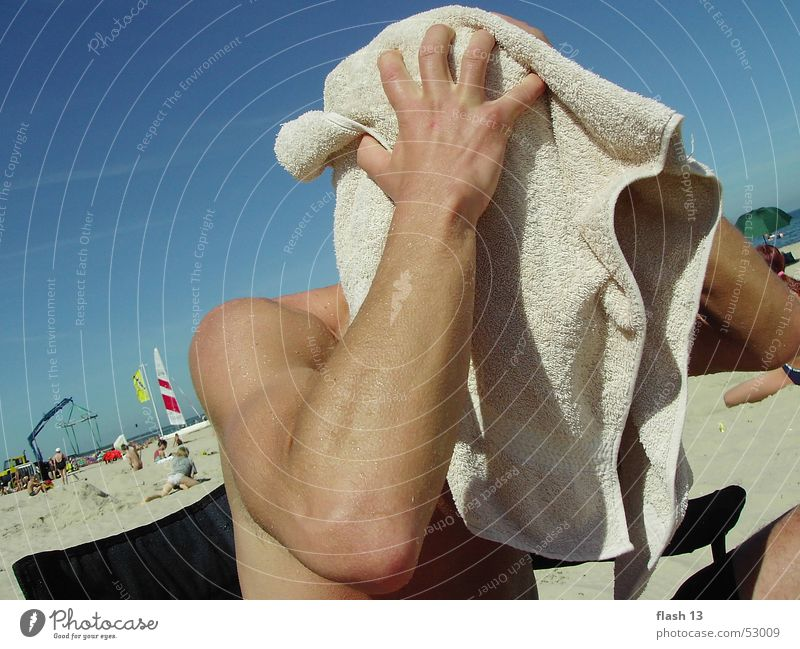 hidden face Towel Man Ocean Exterior shot Baltic Sea Goverland lazy Joy hair drying mysterious face long nose short nose beautiful eyes