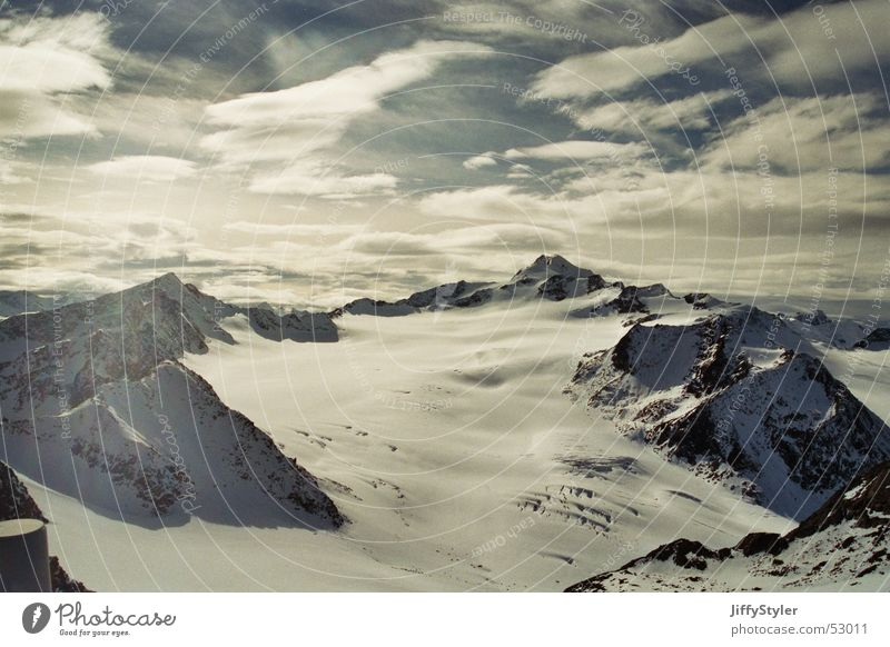 Sky Clouds Loneliness Far-off places Snow Mountain Freedom Ice Rock Austria Glacier Sölden