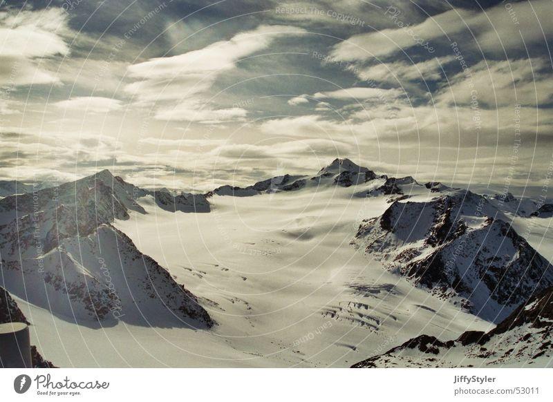 Sky Clouds Loneliness Far-off places Snow Mountain Freedom Ice Rock Austria Glacier Sölden