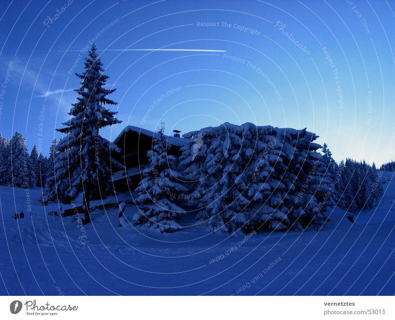 ski hut Fir tree Airplane Vapor trail Snow Sky Hut