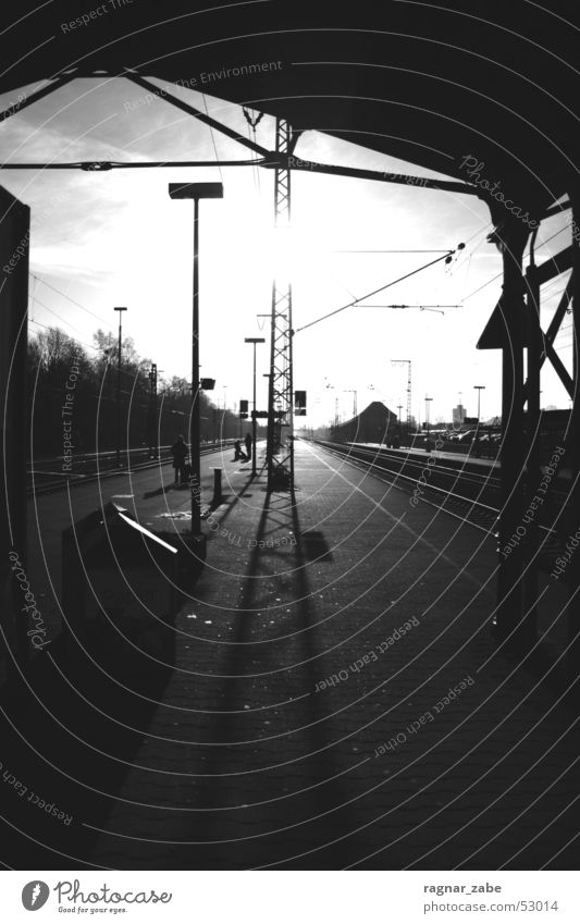 no sleep to oldenburg Empty East Frisland Platform Cold Winter Railroad Train station Backlight Shadow Wait