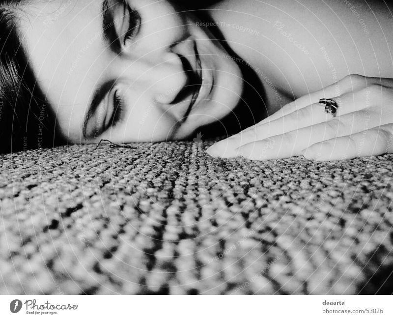 Inga Grinning Hand Dance floor Light bw portret woman carpet