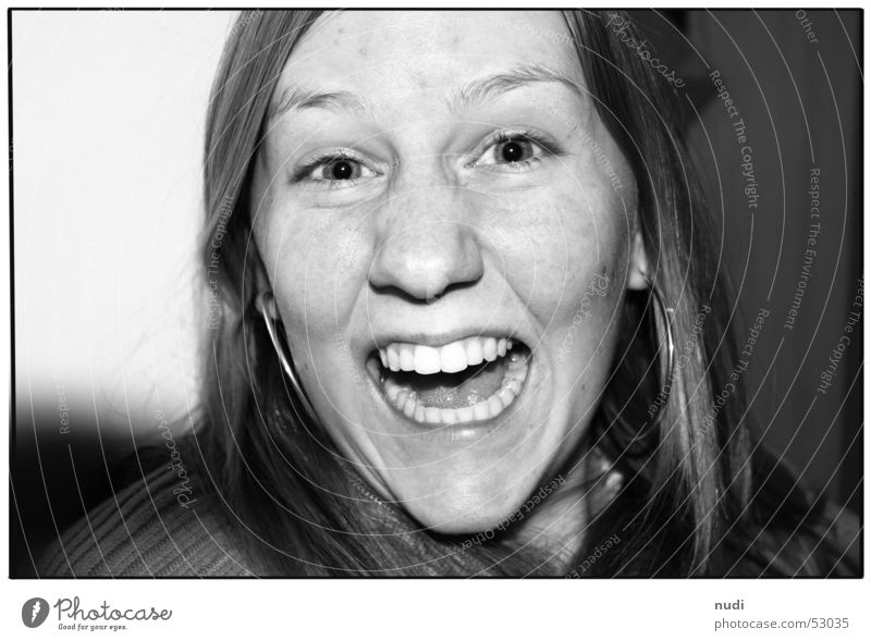 enjoy Portrait photograph Woman Scream Happiness Emotions Lips Cheek Humor Power Face Black & white photo Nose Eyes Mouth Joy Happy Laughter Hair and hairstyles