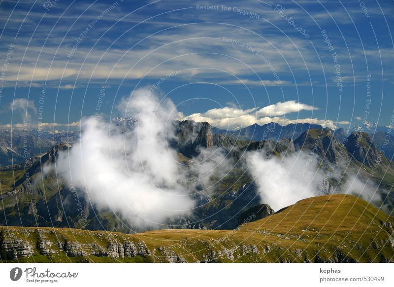 Behind the clouds Nature Landscape Sky Clouds Rock Alps Mountain Peak Switzerland Gigantic Blue Gray Green Colour photo Exterior shot Copy Space top Day