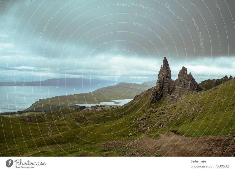 [Skye 18] Old Man of Storr Environment Nature Landscape Elements Earth Clouds Summer Climate Bad weather Storm Gale Plant Grass Moss Rock Mountain Peak Coast