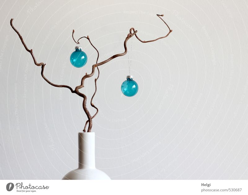 in a white vase stands a twig, two blue glass balls hang from it in front of a white background Living or residing Flat (apartment) Decoration Vase Glitter Ball