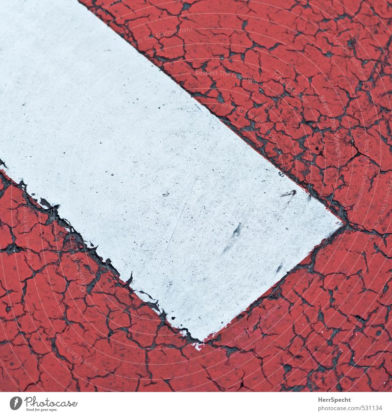 Old White Red Street Signs and labeling Signage Broken Round Sign Pavement Crack & Rip & Tear Section of image Parking lot Road traffic Road sign Warning sign