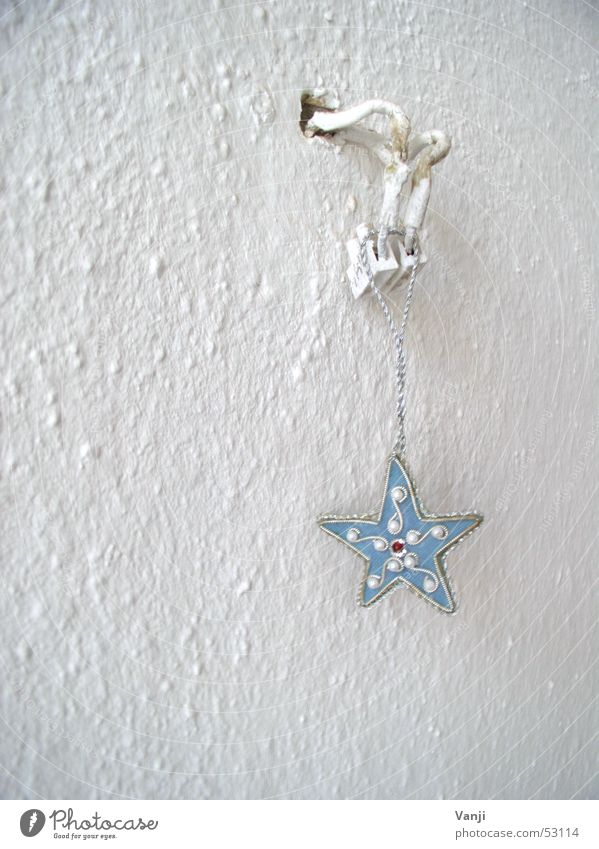 Blue Star Wall (building) Minimalistic White Jewellery Decoration Cable Electricity Hang up Wallpaper Household Art Arts and crafts  Star (Symbol)