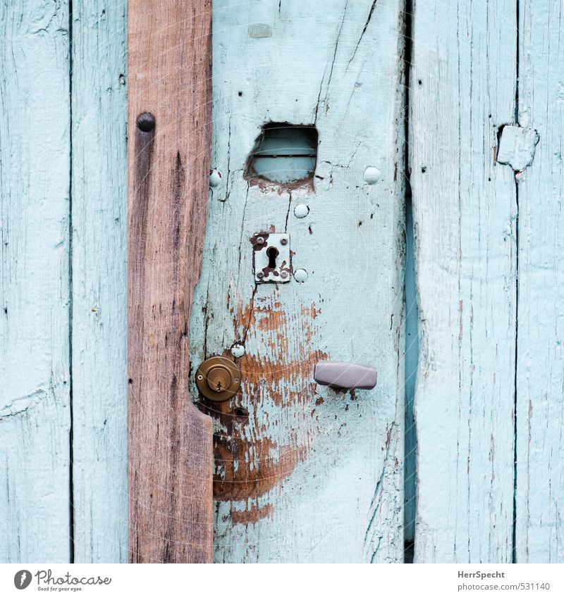 Old Colour House (Residential Structure) Wood Metal Brown Flat (apartment) Door Living or residing Authentic Closed Turquoise Wooden board Trashy Hollow