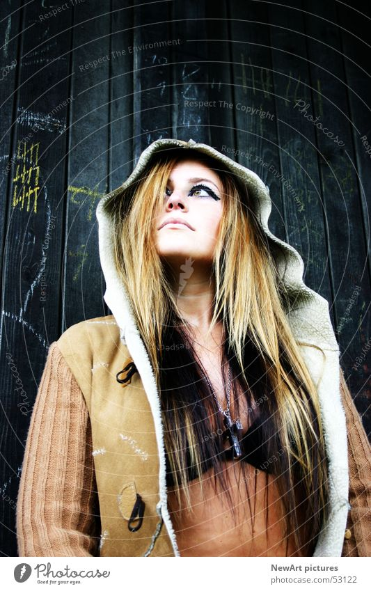 Woman Wall (building) Hair and hairstyles Head Fashion Brown Open Model Coat
