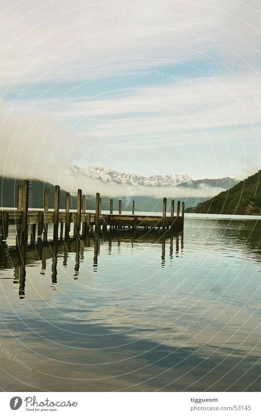 Now take a bath... Lake Loneliness Wood flour Bar Cold New Zealand South Island Christ Church Clouds Calm lonely Clarity footbridge pontoon Water North