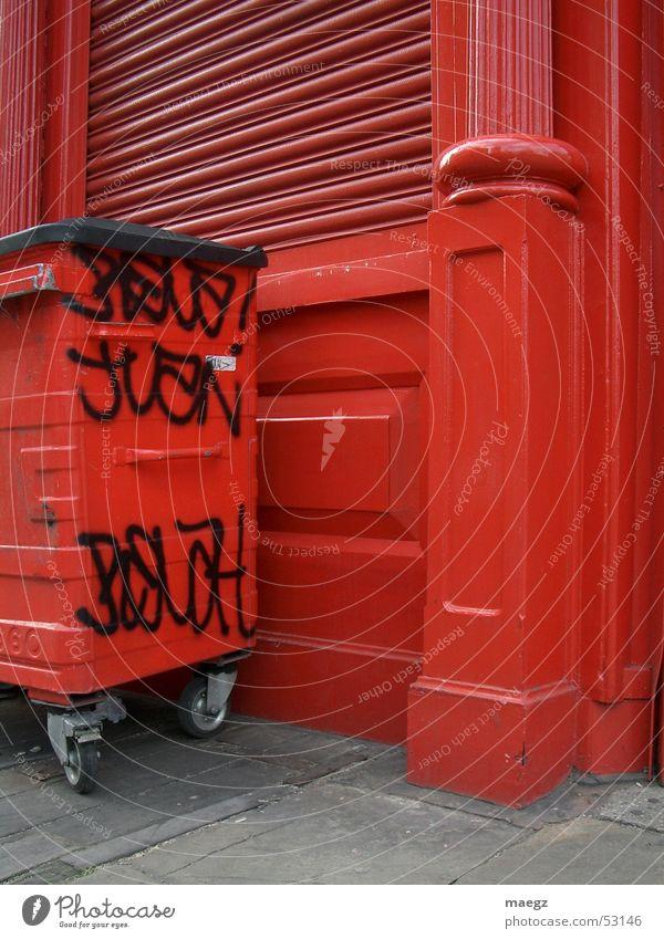 Red Street Graffiti London Trash container Street art England