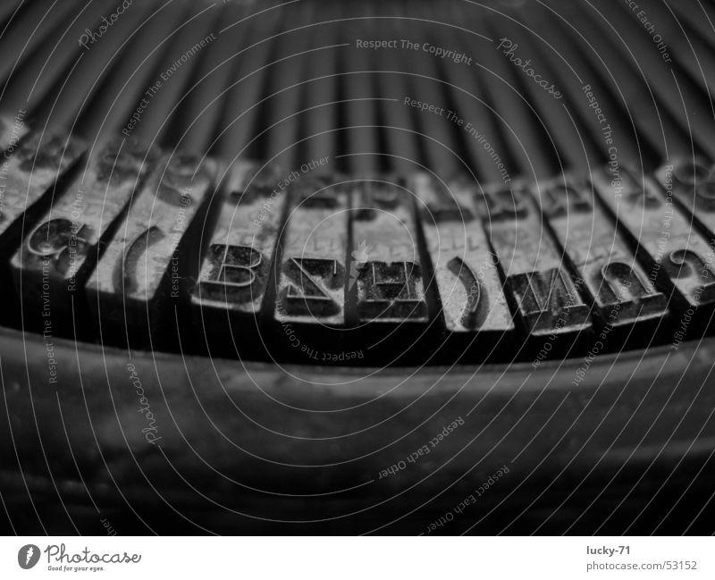 Mercedes Typewriter Old Technology Macro (Extreme close-up) Black & white photo