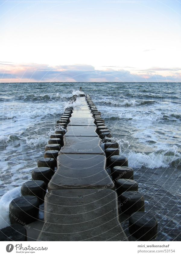 Water Ocean Blue Beach Calm Wood Waves Footbridge Baltic Sea Hissing Sunset