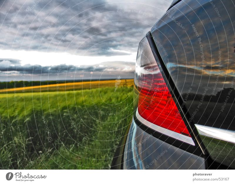reflection Autumn Field Clouds Wheat Rear light Reflection Black Chrome Red Brake light Sky Nature Grain Car Opel astra Varnish fields taillight Vauxhall paint