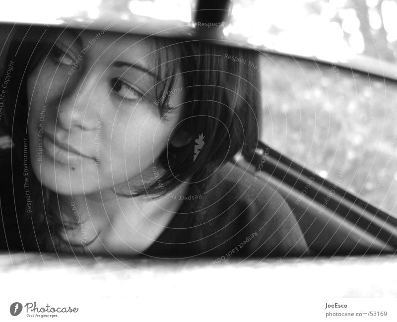 view from the side Style Beautiful Trip Mirror Feminine Woman Adults Life Head Eyes Lips 1 Human being 18 - 30 years Youth (Young adults) Car