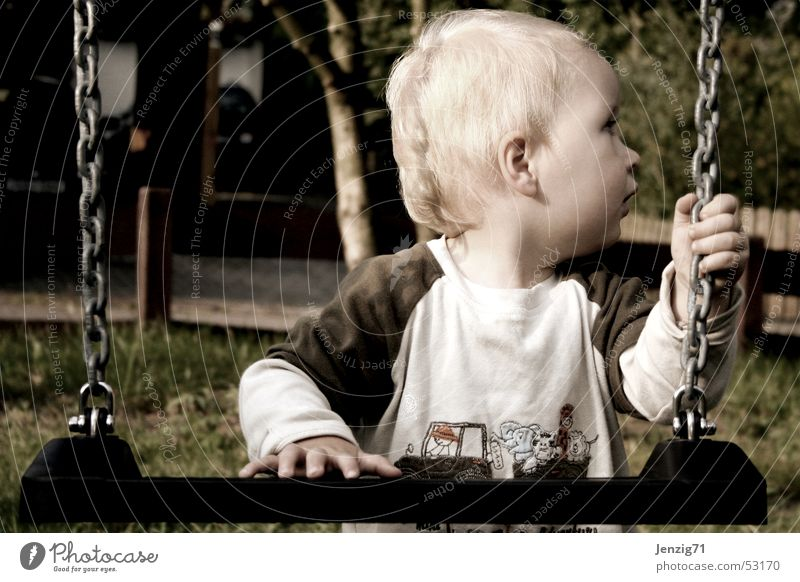 Child Boy (child) Playing Swing Playground Toys Needy Seeking help