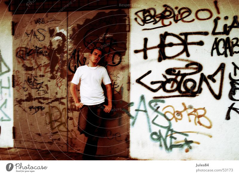 boy Ghetto Wall (building) Tagger Marginal group House (Residential Structure) Fear of the future Think Curbstone Graffiti