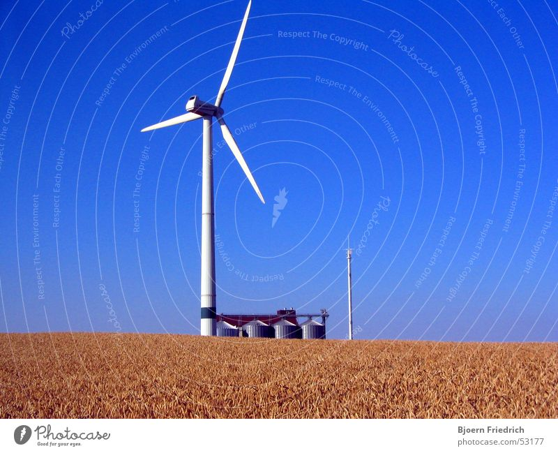 Sky White Sun Blue Bright Power Field Wind Energy industry Tower Grain Wind energy plant Grain Electricity pylon Containers and vessels Silo