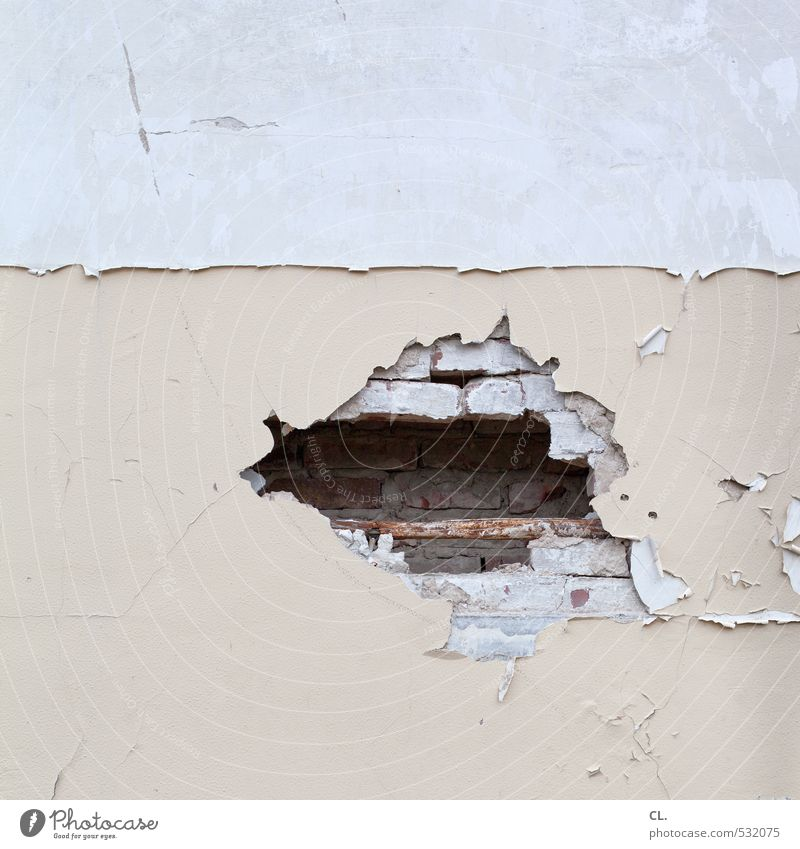 glimpse Deserted House (Residential Structure) Wall (barrier) Wall (building) Broken Gloomy Gray Decline Transience Change Destruction Hollow Building stone