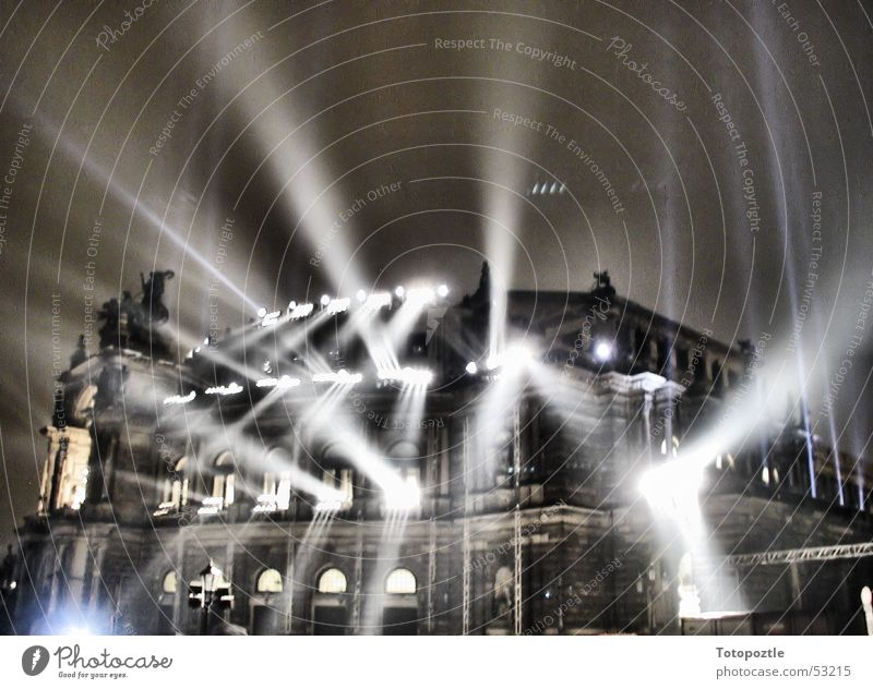 Semper Opera Light show Awareness Dresden Baroque Architecture