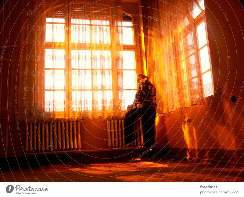 Old Window Warmth Contentment Orange Telephone Physics Derelict Decline Heater Street lighting Curtain Dusty