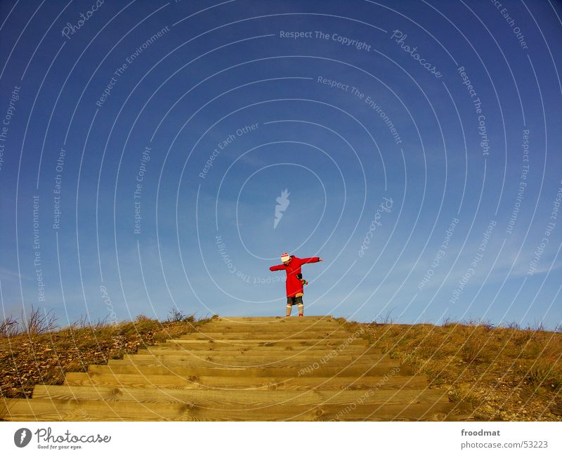 unattached Red Wood Woman Meadow Bushes Coat Cap Winter Multicoloured Wind Stockings Middle Stairs Mountain Sky Blue staircase freedom Free Arm