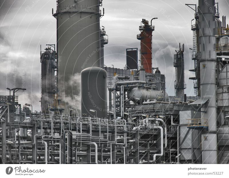 refinery Refinery Oil Gasoline Steel Industrial Photography Smoke pipes Pipe