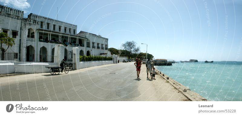 Zanzibar Island Palace Building Ocean Africa Tourist Man Watercraft Tree Street Human being