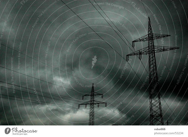 Mast2 Electricity pylon Clouds Dark Weather