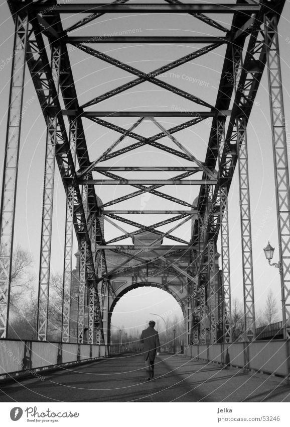 walk on Man Adults Bridge Lanes & trails Coat Steel Going Gray Black White Elbbrücke Steel carrier Black & white photo Steel bridge Rear view To go for a walk 1