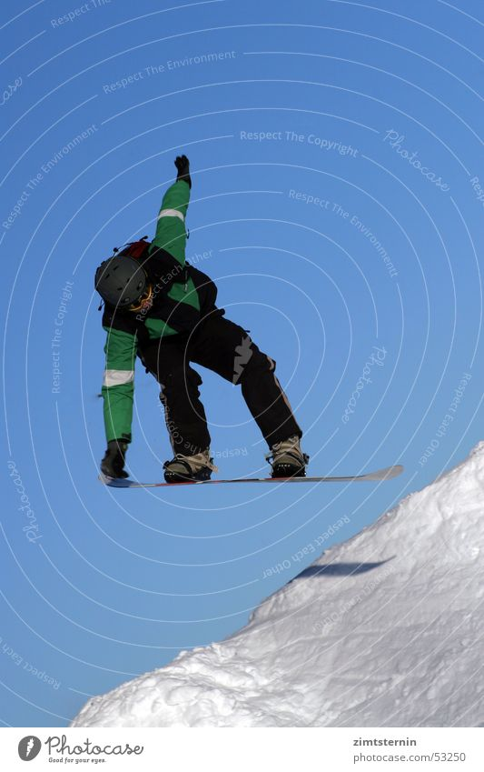Sky Blue Green White Black Snow Sports Jump Touch Posture Athletic Frozen Cloudless sky Downward Stagnating Blue sky