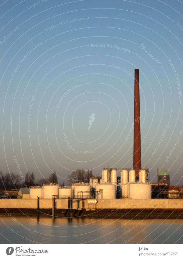 industry rocks Factory River Tower Chimney Industrial Photography Harburg Elbe Hamburg Colour photo Sewage plant Exterior shot