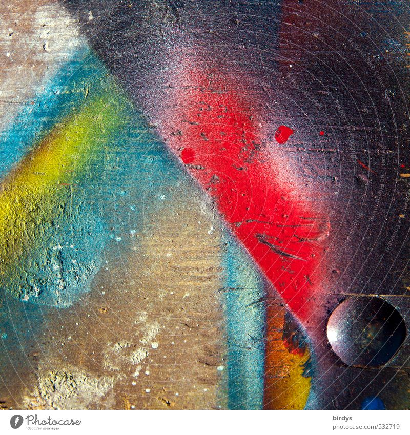 punkboard Art Paints and varnish Wood Esthetic Positive Rebellious Trashy Multicoloured Colour Passion Revolt Graffiti Contrast Structures and shapes Workplace