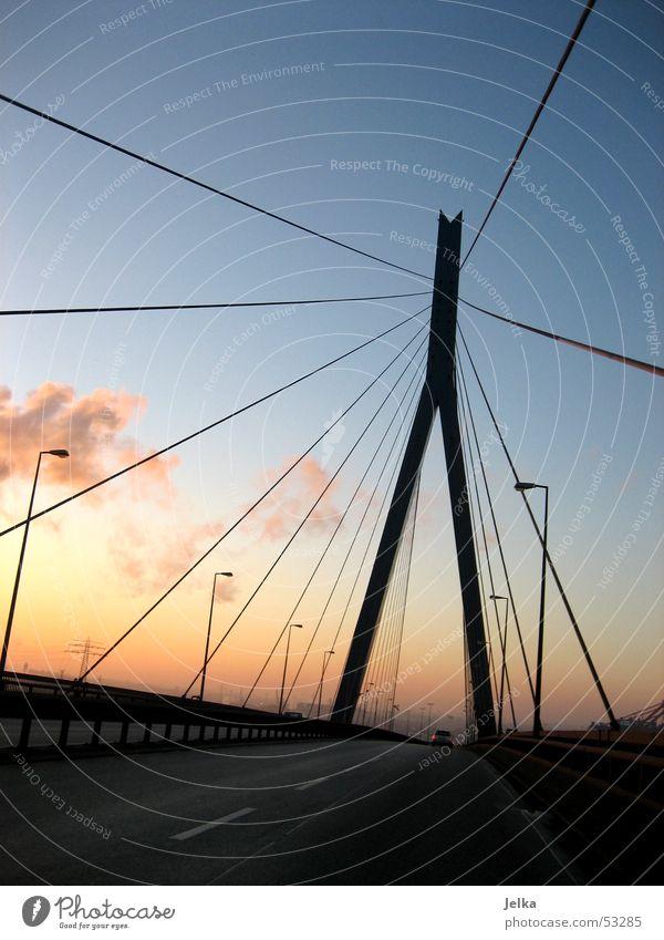 köhlbrand bridge Bridge Cold Sunset Hamburg Steel carrier Colour photo Steel bridge Street