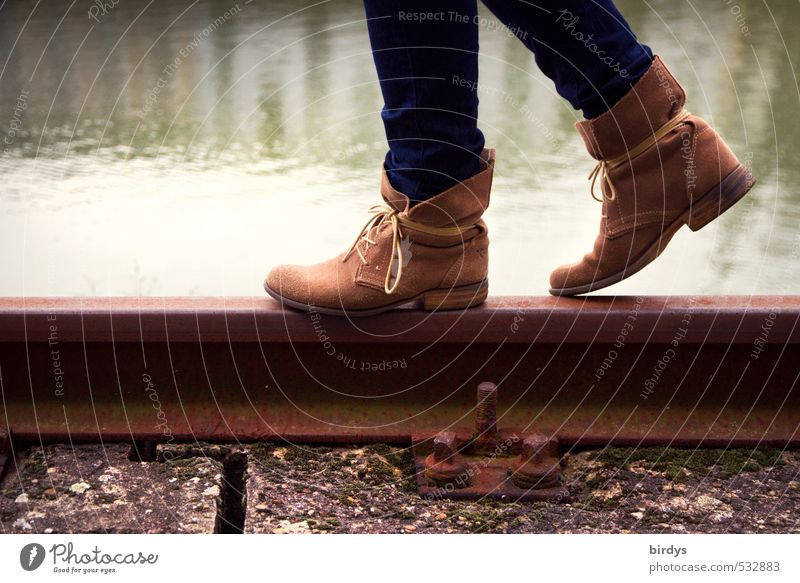 replacement bus service Lifestyle Style Young woman Youth (Young adults) Legs Feet 1 Human being 18 - 30 years Adults Water Railroad tracks Fashion Leather