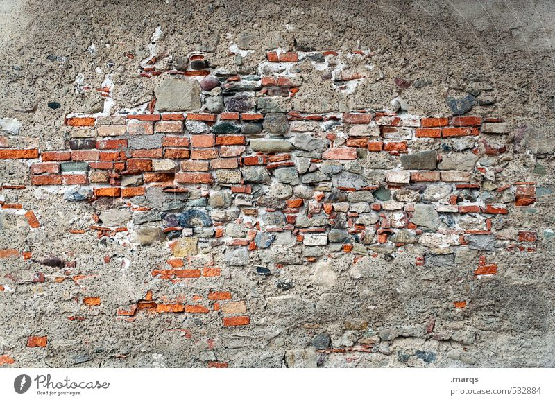 Walled Wall (barrier) Wall (building) Concrete Old Simple Gray Red Brick wall Background picture Colour photo Exterior shot Pattern Structures and shapes