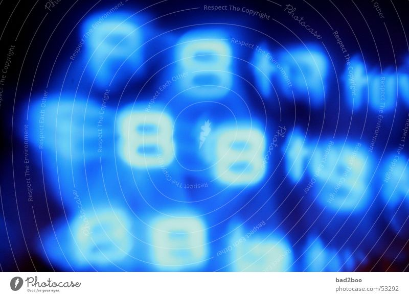 Blue Lamp Characters Digits and numbers Touch Mirror Cellphone Typography 8 Mirror image Neon sign Luminosity