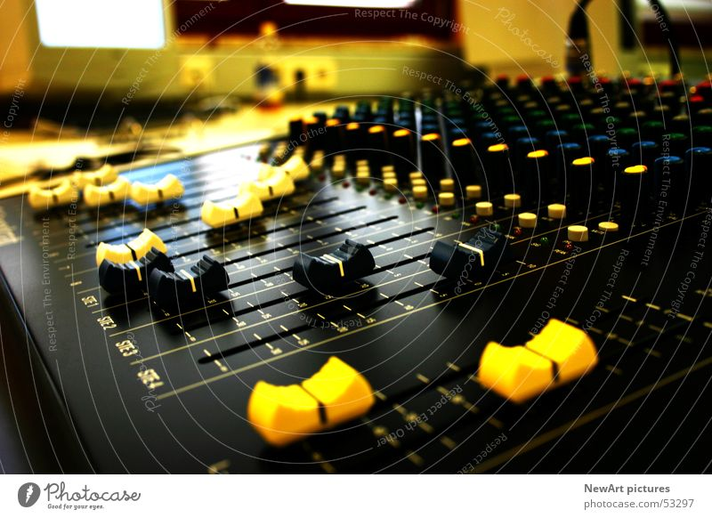 Black Yellow Music Room Lie Disc jockey Tone Record Loud Sound Mix Push Mixing desk Sound engineering Controller MP3 player