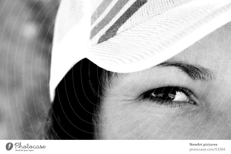 eye Baseball cap Hip-hop Woman Black White Pupil Eyes Black & white photo B&W Looking Hair and hairstyles perspective Think Nose Face