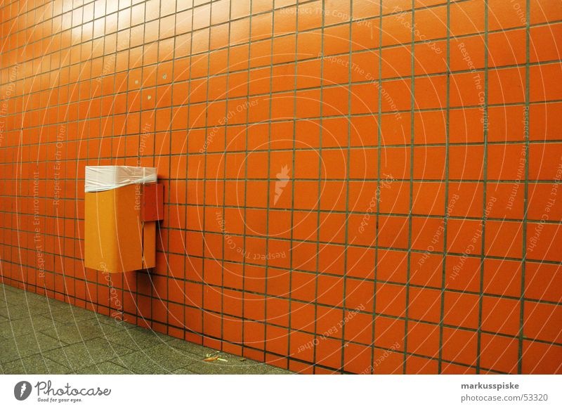 orange Underground Trash Bucket Subsoil Night Station Tile Orange Loneliness Wait