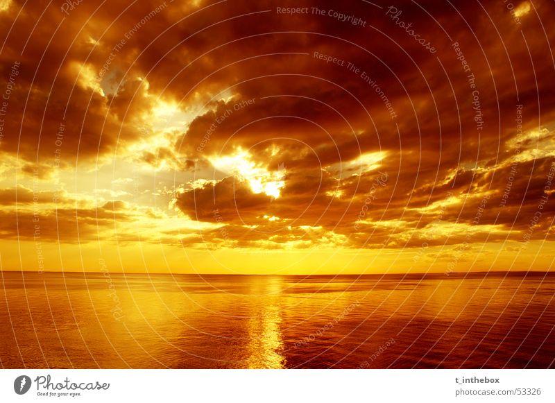 sunset Sunset Monochrome Australia Sky sea water Orange Sepia saturation clouds horizon nice mornington peninsula clear no waves reflection heavenly contrast
