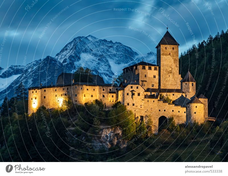 Castle Taufers Tower Manmade structures Tourist Attraction Landmark Tourism Colour photo Exterior shot Evening Twilight Night